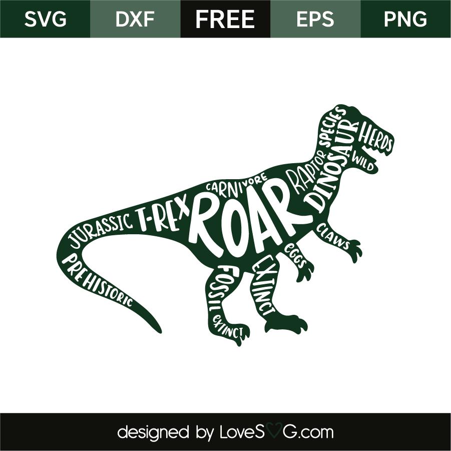 Dinosaur And Words Lovesvg Com