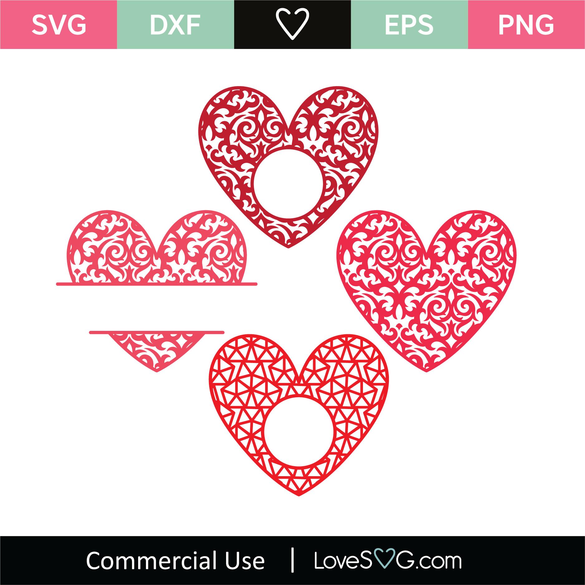 Download Heart Mandala Monogram Frames - Lovesvg.com