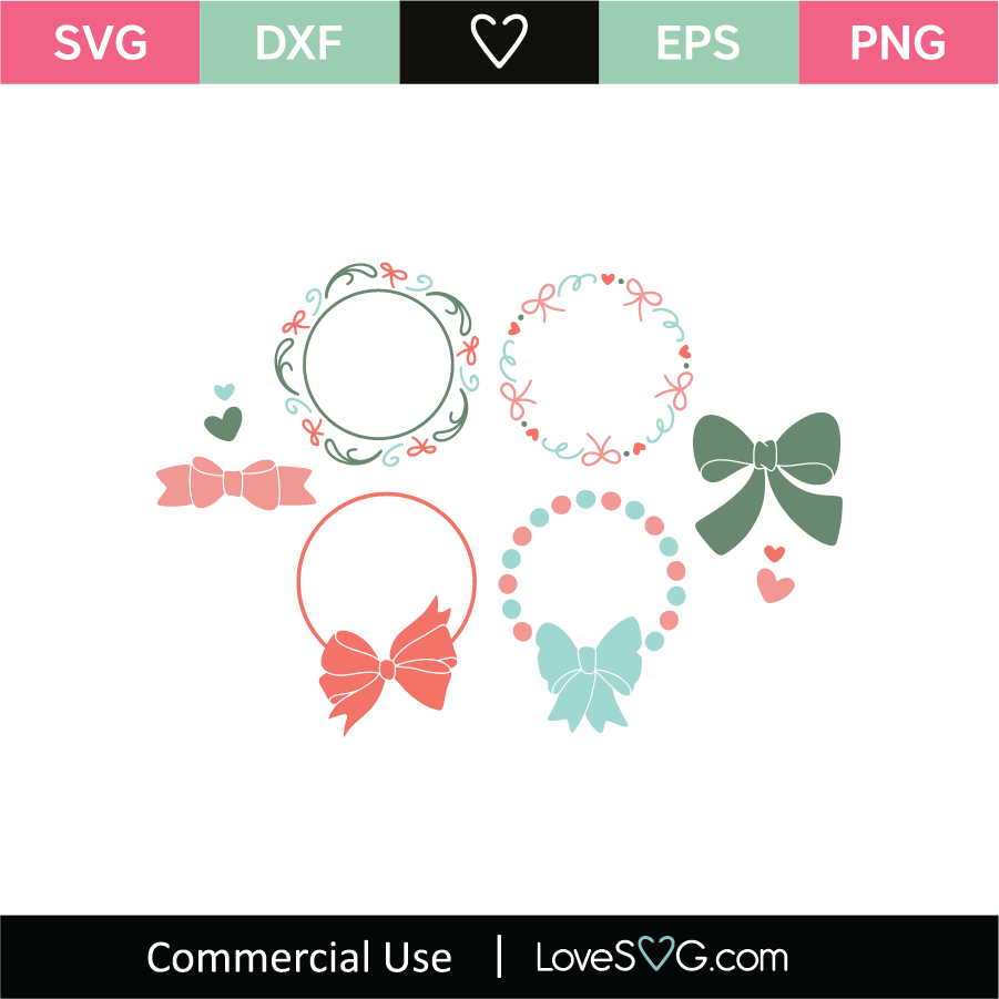 Bow Monogram Frames Svg Cut File Lovesvg Com